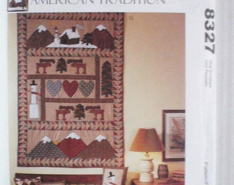 SALE - Craft Pattern - Country Wall Hanging, Christmas Stockings, Pillows - American Tradition Pattern - McCalls 8327, Uncut