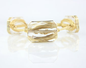 Crystal Rectangle Wire Wrapped Bangle, Wire Wrapped Bracelet, Wire Bangle
