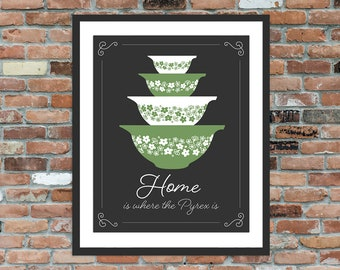 Home is where the Pyrex is - Pyrex Spring Blossom Crazy Daisy Kitchen Sign, Vintage Pyrex