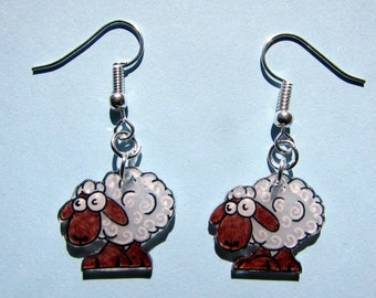 """Earrings """"sheep"""" white"""
