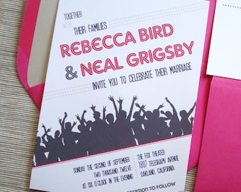 Dance Party Wedding Invitations Celebrate Movie Poster Themed with Crowd Silhouette - DESIGN FEE