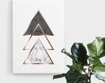 Marble Rose Gold Triangle Print, Print Art, Geometric Art, Abstract Art, Scandinavian Print, Minimalist Art, Digital Art, Printable Art