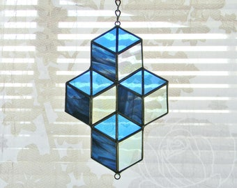 Stacked Boxes Stained Glass Suncatcher in Navy Blue and Iridescent Clear - Ready to Ship