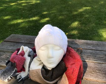 Cable and Lace Knit Hat