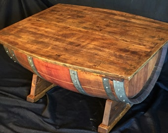 Old Wine Barrel Coffee Table with Old Distressed Pine Top
