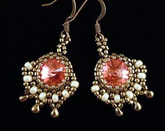 Gold Earrings, Evening Earrings, Beaded Earrings, Vintage Style Earrings, Bridal Earrings, Padparadscha