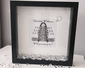 Personalised 'Will You Marry Me' Proposal Print with Frame
