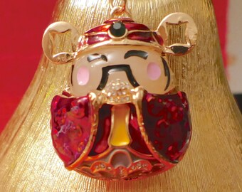 Beautiful  Chinese God of Wealth Crystal Purse Ladies Handbag Key Ring Chain Lucky Gift