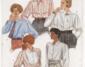 """A Long Sleeve, Collar, Buttoned Front Blouse w/Front Style Variations Sewing Pattern for Women: Uncut - Size 12, Bust 34"""" • McCall's 2070"""