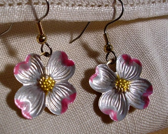 A Breath of Spring. Medium  Dogwood Earrings. Hand Painted.