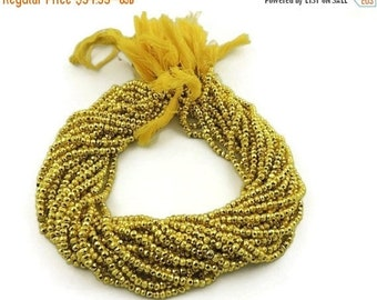 Memorial Day Sale EASTER SALE 10 Strands  Yellow Pyrite Finest  Quality  Facet Rondelles 3.5mm to 4mm 13.5 inch strand ISR-148