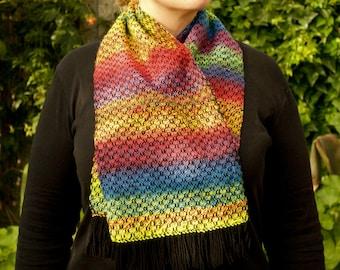 Rainbow scarf, hand dyed, hand spun, short scarf