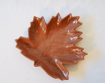 Vintage Ceramic Leaf Dish, Red Wing Leaf Dish In Brown Glaze Number 696