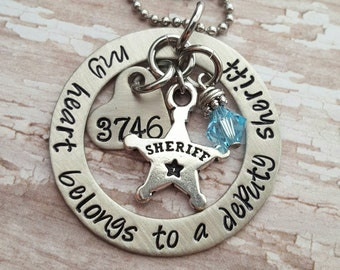 Custom hand stamped, Personalized, JBK, My Heart Belongs to A Deputy Sheriff  washer style necklace