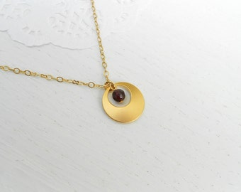 Red garnet necklace, Gold circle pendant necklace, January birthstone