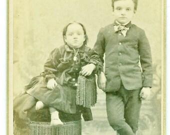CDV Photo Children  Boy & Girl  Forreston Ills.