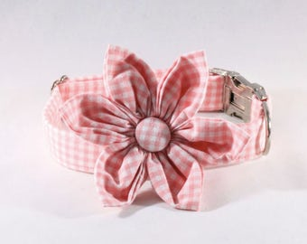 Preppy Pink Gingham Girl Dog Flower Bow Tie Collar