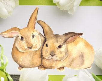 Watercolor Bunnies Print + Clip Art