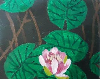 Lotus and leaf on canvas
