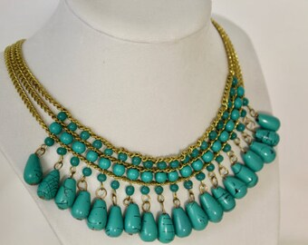 Bead Necklace, Turquoise Bead Necklace, Statement Necklace, Bib Necklace, Turquoise Bead Jewelry, Gift For Her, Holiday Gift