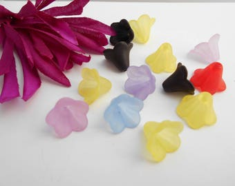 x 25 multicolor flower beads frosted