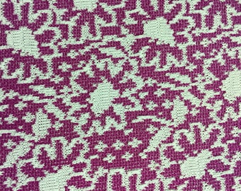 Vintage Plum Pink with White Pattern Medium Weight Knit Fabric 2.5 Yards