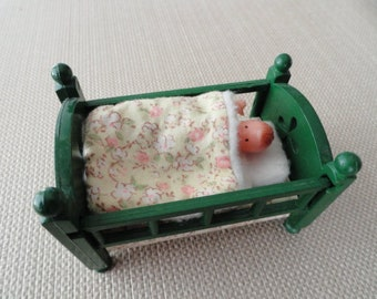 Dollhouse Crib with baby vintage