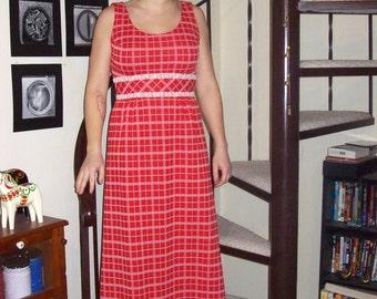 Vintage red and white plaid maxi dress - small/medium