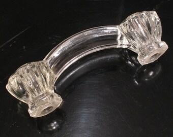"Vintage 10-Sided Glass Drawer Bridge Pull - 4"" - Cabinet Hardware"