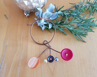 Vintage Button and Copper Ornament #3