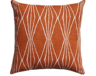 15 Sizes Available, Sweet Potato Orange Pillow, Diamonds Pillow, Geometric Decorative Zipper Pillow Cover, Burnt Orange Cushion, 26x26 Sham