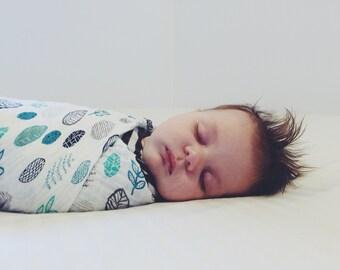Leaf Swaddle  - Woodland Swaddle - Woodland Baby Blanket - Muslin Swaddle - Muslin Baby Blanket