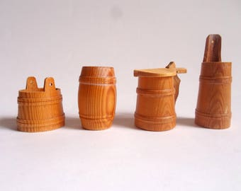 Vintage Wood Miniatures Dishes Container Bucket Mug Barrel Pot Set of 4 Small Mini Dollhouse Doll Home Accessories Utensils Collectibles