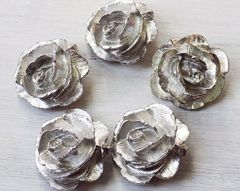 Large buttons, pewter buttons, rose buttons, heavy buttons, strong buttons, handmade buttons, floral buttons, flower buttons, silvertone