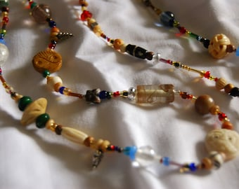 Reserved for Shahmain---Long Beaded Multi-Color Necklace - Bone, Czech Glass, Wood and Ceramic Beads