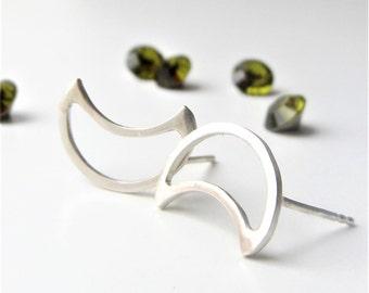 Silver moon earrings- Celestial studs- Silver moon studs- Geometric studs- Tiny moon studs- Birthday gift- Gift ideas- Handmade gift