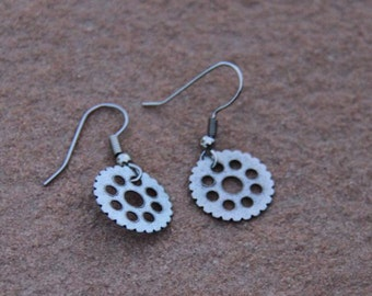 Bike Gear Earrings in Silver-Could be Steampunk or Vintage