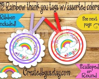 Rainbow Thank you tags Rainbow Birthday Rainbow Party favor tags Custom Gift tags Rain bow tags Birthday Party tags Ribbon incld & assembled