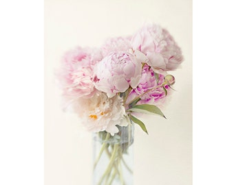 Peony Art, Flower Photography Print, Blush Pink Flower Still Life, Floral Home Decor