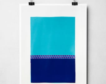 Colourful wall art, blue artwork, Original artwork, Paper collage on high quality support paper, acid free