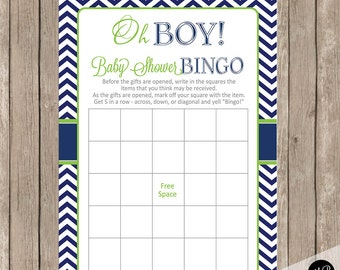 Oh Boy Baby Shower Bingo in Lime and Navy - Baby Shower Bingo Fill In Game - shower game boy baby shower - Instant OBLN