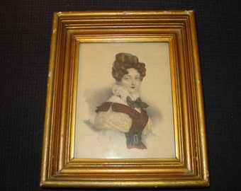 Hand Colored Victorian Style Lady Litho IBFCO