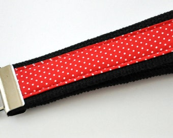 Dainty Pinpoint White Dots on Blue Red Fabric with a Black Heavy Duty Cotton Webbing