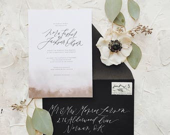 Watercolor Dip Style Calligraphy Wedding Invitation // Available in Letterpress or Gold Foil
