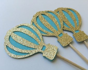 20 Hot Air Balloon Cupcake Toppers in Teal and Gold Glitter.  Cupcake Decorations.  Up, Up and Away Party