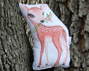 Deer woodland plush. Baby deer softie pillow soft toy. Forest creature stuffed animal. Woodland Nursery. Gift for children. Gift for baby.