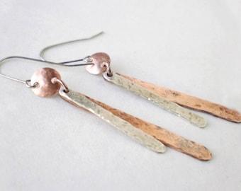 Mixed Metal Earrings - Boho Earrings - Everyday Earrings - Dangle Earrings - Silver and Copper Earrings - Gift For Women - Gift Under 30
