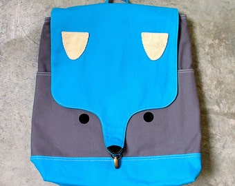 Turquoise Blue FOX Backpack ON SALE Vegan Fabric Laptop Padded Backpack Cute Diaper Travelling Backpack Fox Theme Gifts Men Women Backpack