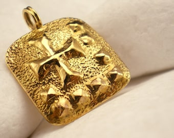 Solid 14K Gold Forged Cross Pendant