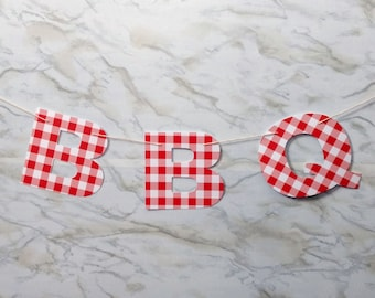 Red Gingham Picnic or BBQ Garland